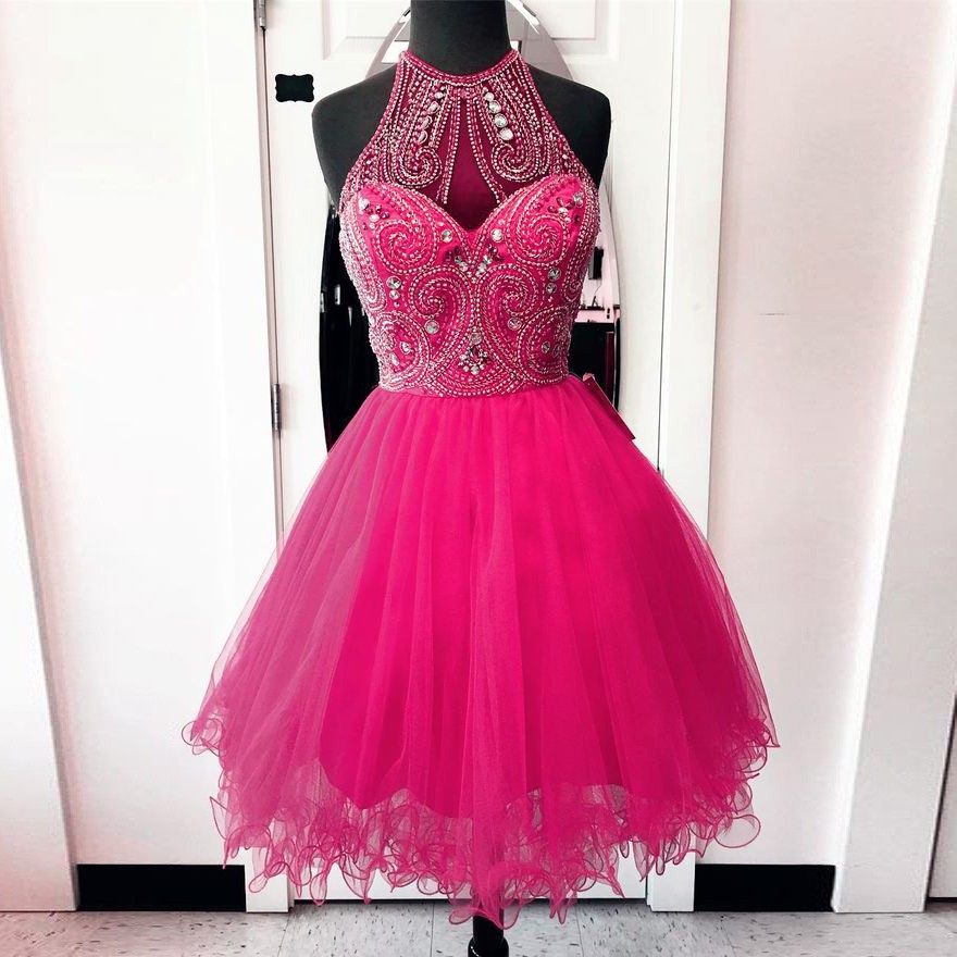 A-Line Round Neck Short Rose Pink Tulle Homecoming Dress with Beading