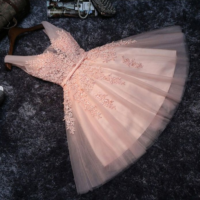 A-Line V-Neck Pearl Pink Tulle Homecoming Dress with Sash Appliques Pearls
