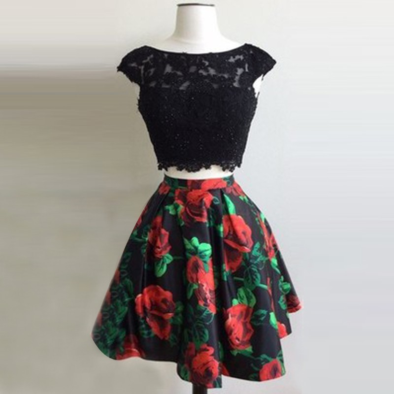 Two Piece Bateau Open Back Short Black Floral Homecoming Dress with Appliques