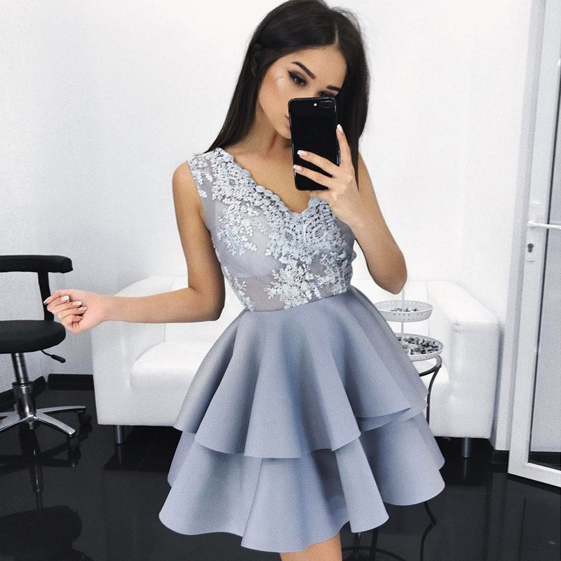 A-Line V-Neck Light Sky Blue Satin Homecoming Dress with Appliques
