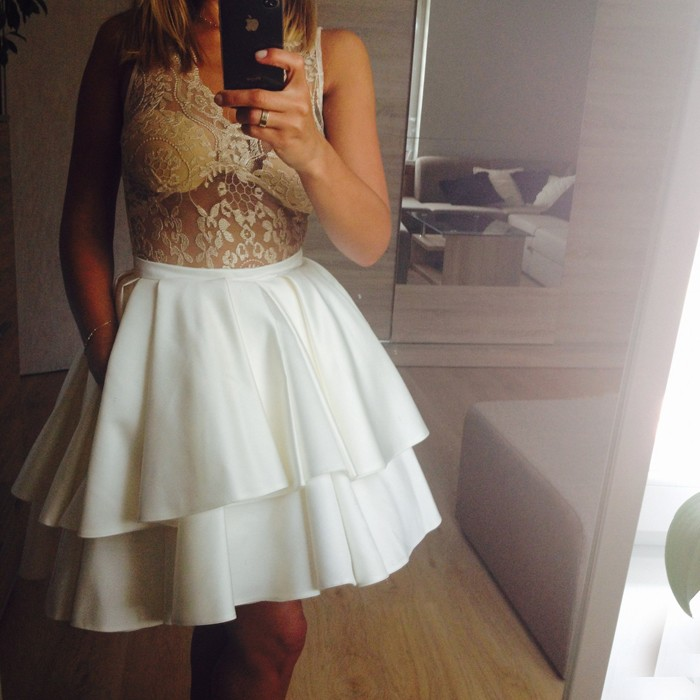 A-Line V-Neck Illusion Lace Top White Short Homecoming Dress with Pockets