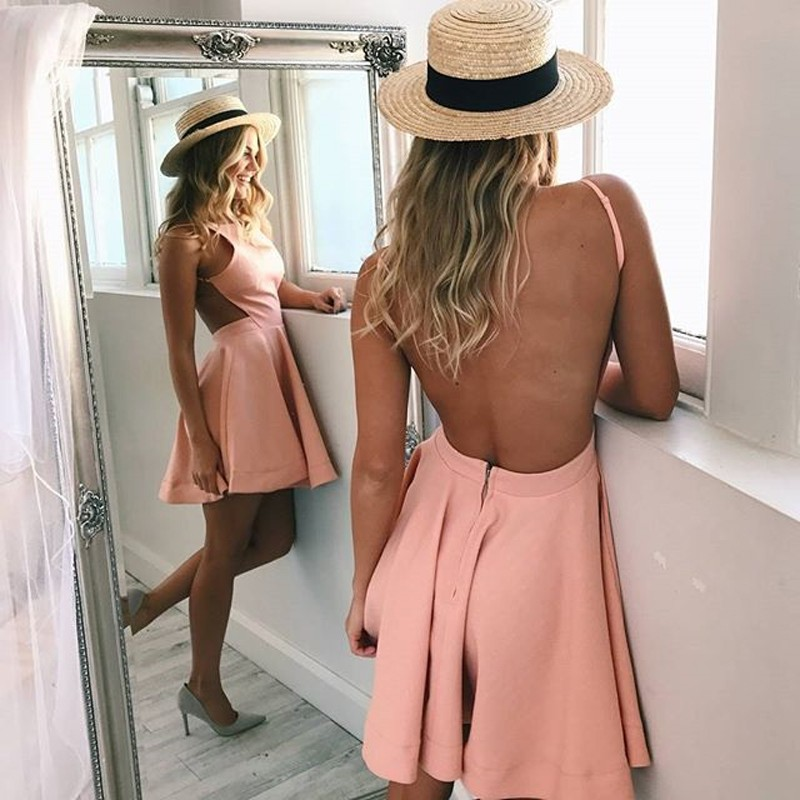 A-Line Jewel Backless Short Blush Satin Homecoming Dress