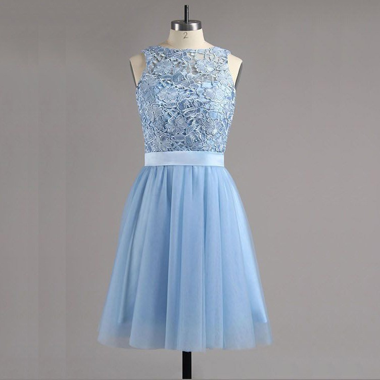 A-Line Bateau Backless Blue Tulle Homecoming Dress with Lace Bowknot
