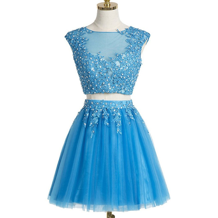Two Piece Bateau Cap Sleeves Short Blue Tulle Homecoming Dress with Appliques