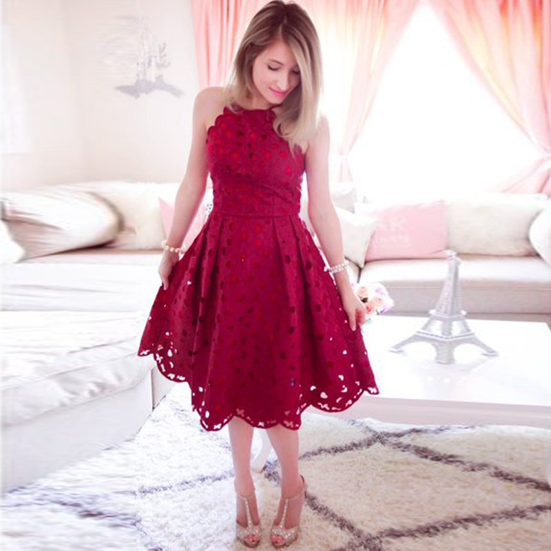 A-Line Spaghetti Straps Dark Red Lace Homecoming Dress with Hollow