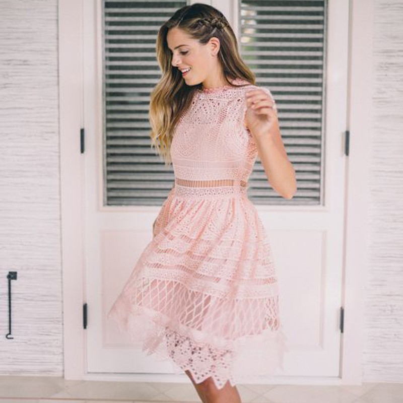 A-Line Round Neck Short Pearl Pink Lace Homecoming Dress