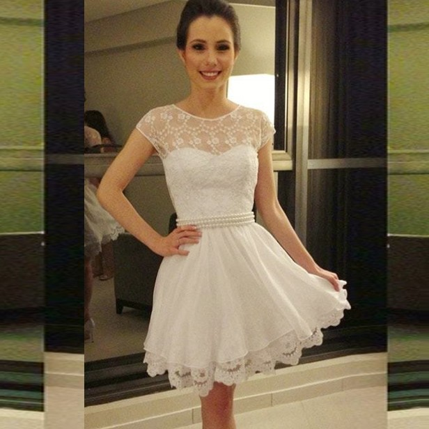 A-Line Jewel Cap Sleeves Short White Chiffon Homecoming Dress with Lace Pearls