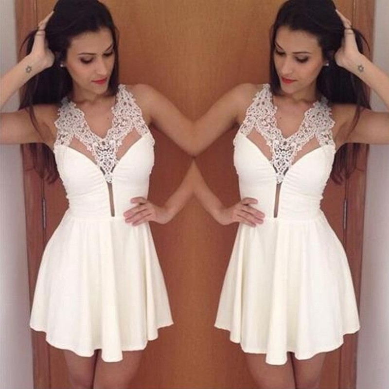 A-Line V-neck Short White Chiffon Homecoming Dress with Lace