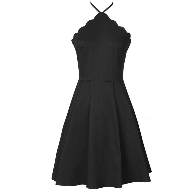 A-Line V-Neck Satin Little Black Dress Criss-Cross Straps