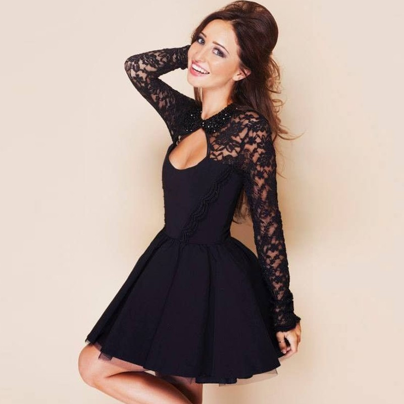 A-Line Jewel Keyhole Open Back Little Black Dress with Lace