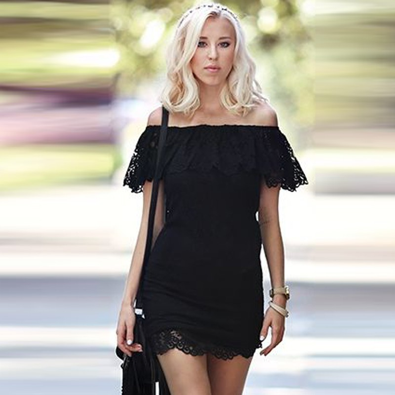 Bodycon Off-the-Shoulder Little Black Dress with Lace