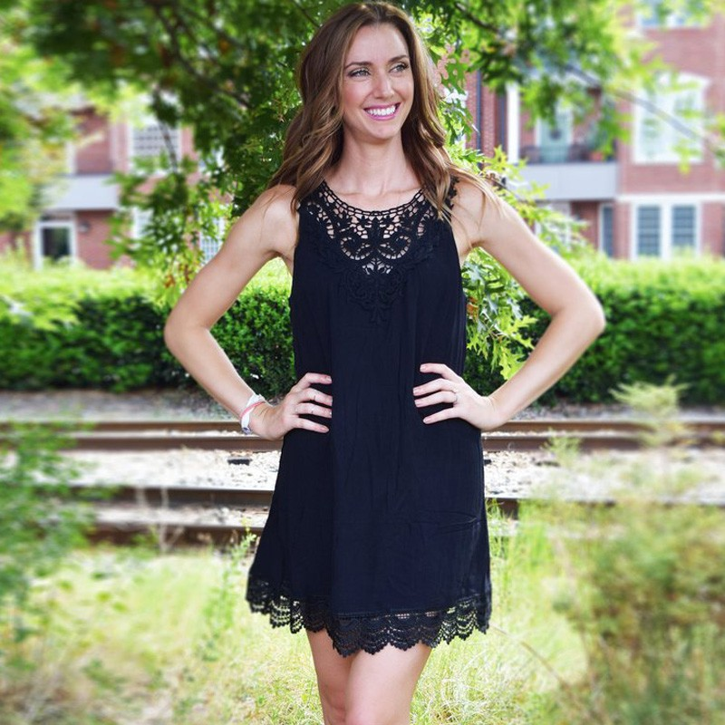A-Line Jewel Polyester Little Black Dress with Lace