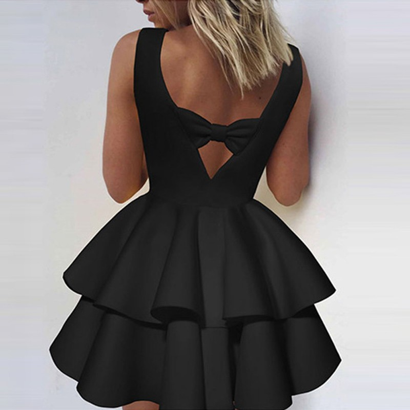 Ball Gown Scoop Tiered Little Black Dress with Bowknot