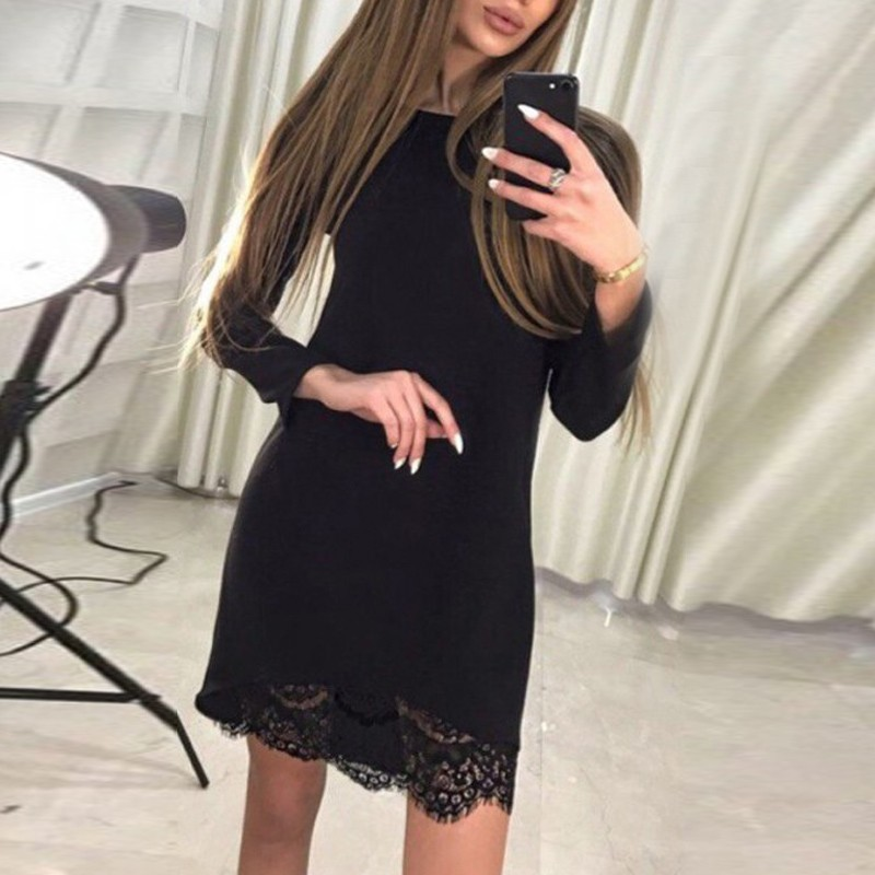 Sheath Bateau Long Sleeves Spandex Little Black Dress with Lace