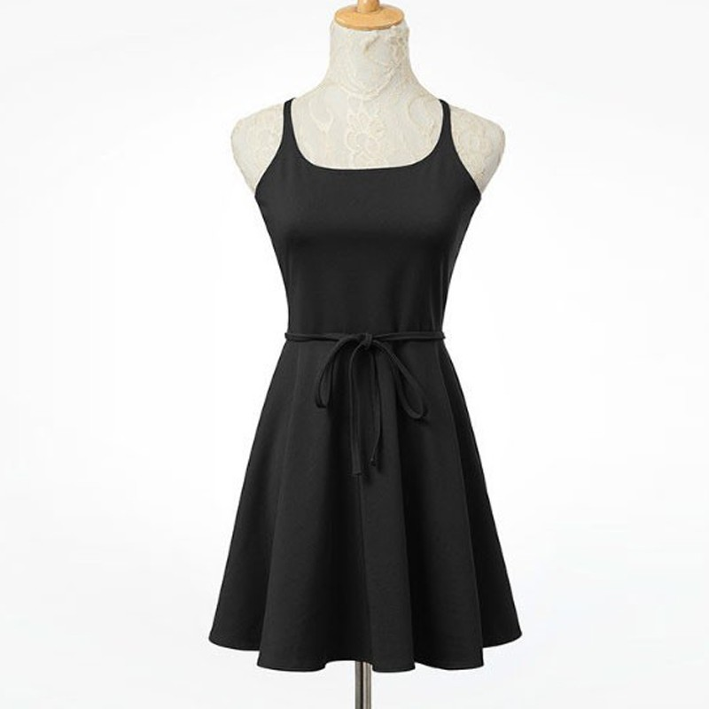 A-Line Square Criss-Cross Straps Polyester Little Black Dress