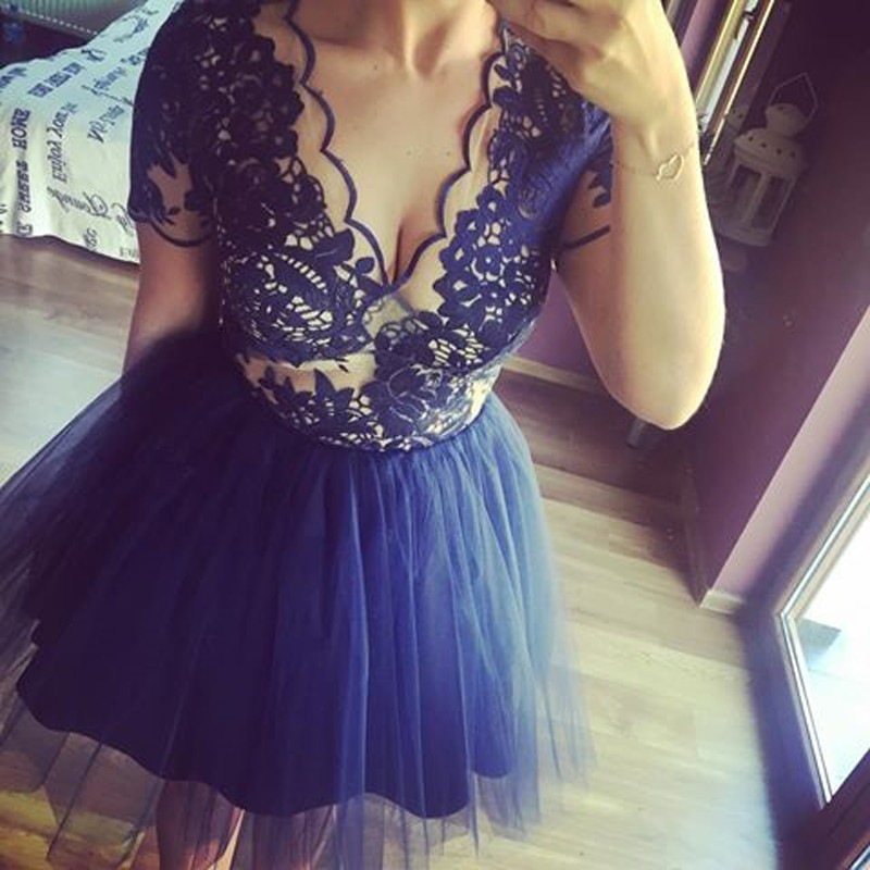 A-Line V-Neck Short Sleeves Dark Blue Tulle Homecoming Dress with Lace