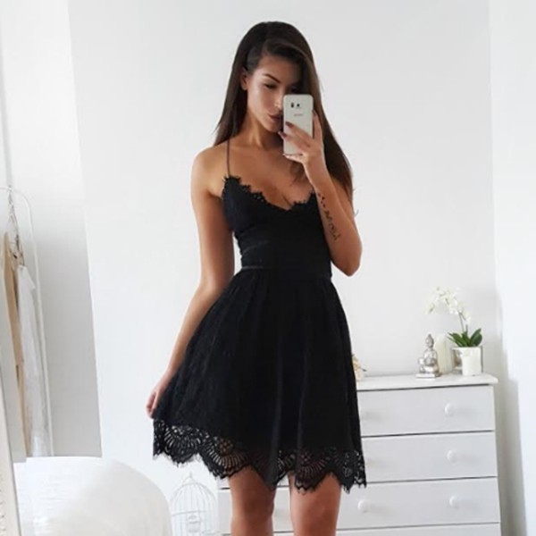 A-Line Spaghetti Straps Lace-up Little Black Lace Dress