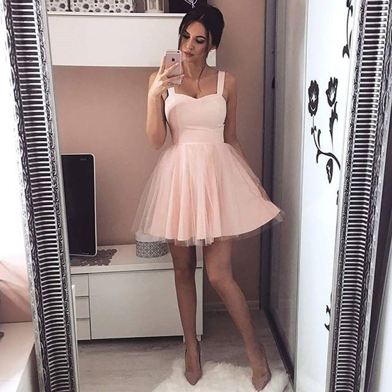 A-Line Square Short Pearl Pink Tulle Homecoming Dress