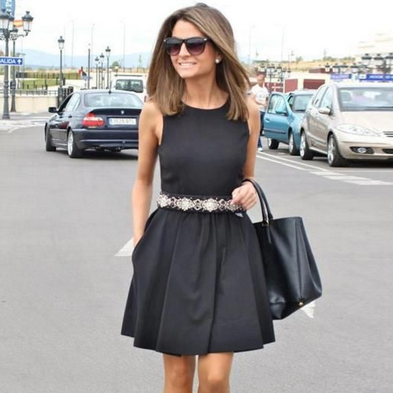 A-Line Jewel Satin Little Black Dress with Beading Pockets