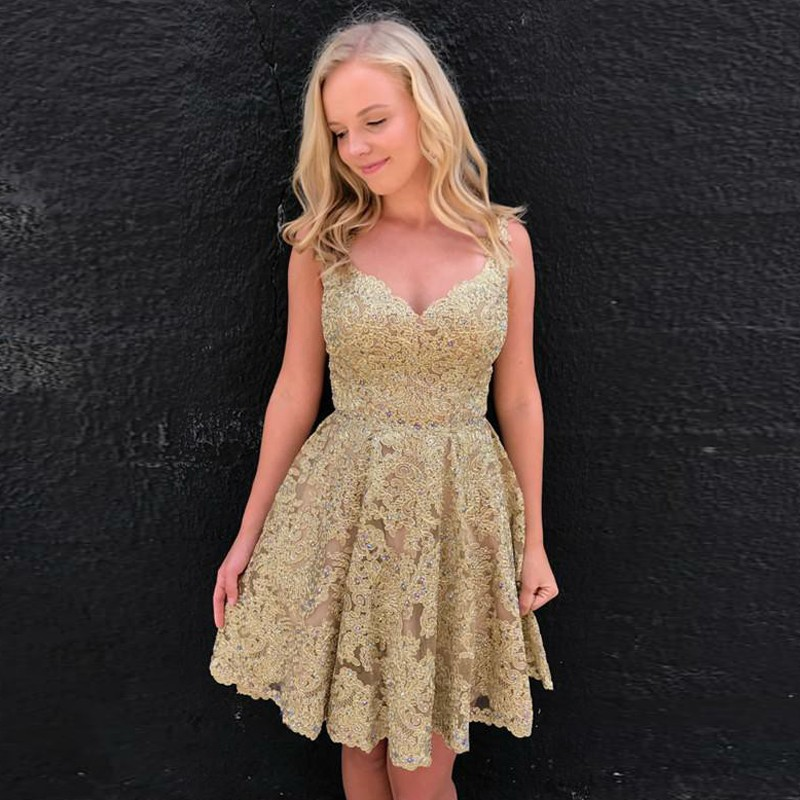 A-Line Scoop Backless Champagne Lace Homecoming Dress with Beading