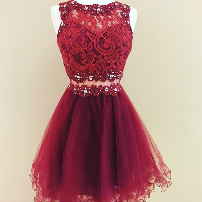 A-Line Jewel Short Burgundy Tulle Homecoming Dress with Lace Sequins