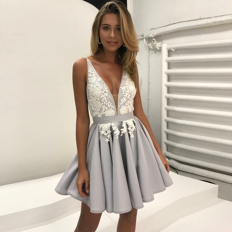 A-Line Deep V-Neck Backless Short Grey Satin Homecoming Dress with Appliques