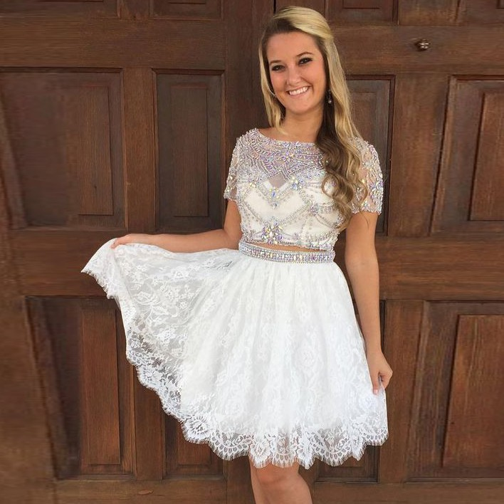 Two Piece Bateau Short Sleeves Ivory Lace Homecoming Dress with Beading