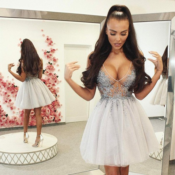 A-Line V-Neck Backless Short Light Grey Tulle Homecoming Dress with Beading