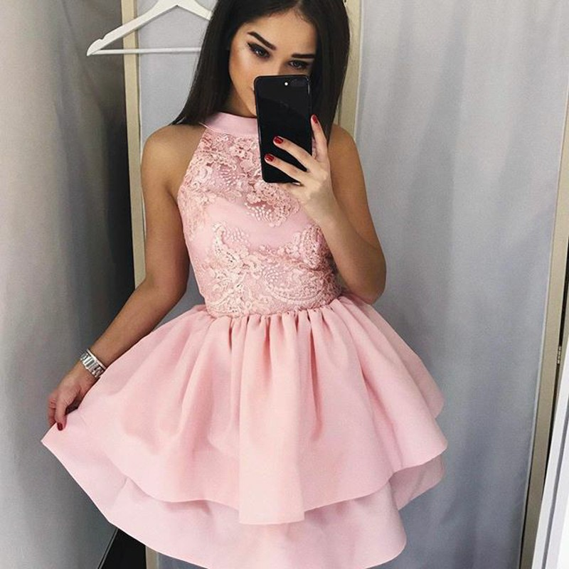 A-Line Round Neck Short Tiered Pink Satin Homecoming Dress with Lace