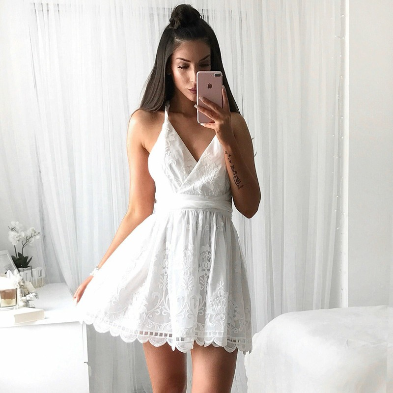 A-Line V-Neck Backless Short White Lace Homecoming Dress with Sash