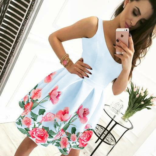 best website preview of discount up to 60% A-Line V-Neck Short White Floral Satin Homecoming Dress ...
