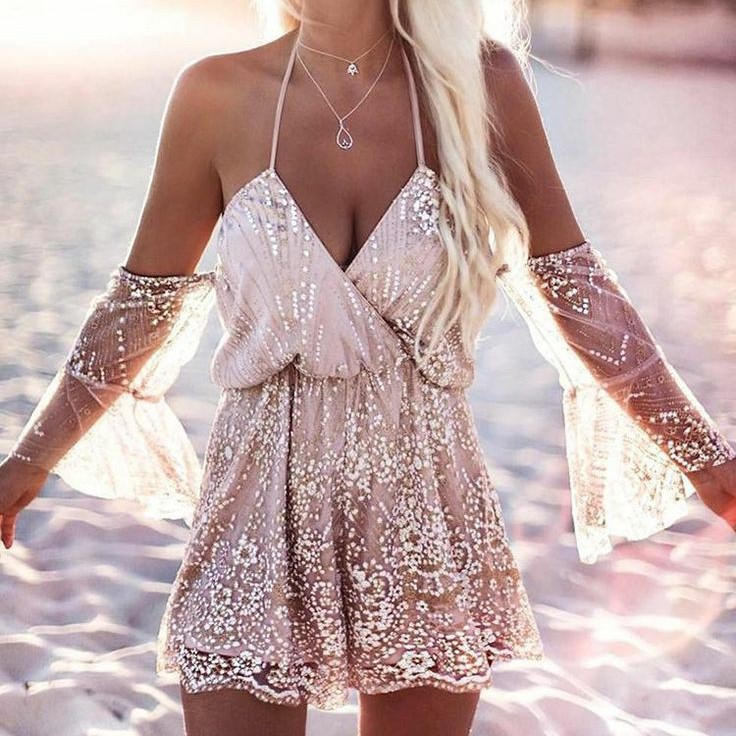 A-Line Spaghetti Straps Champagne Sequined Homecoming Dress