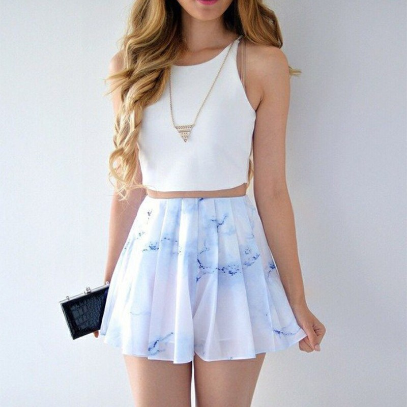 Two Piece Bateau Short Printed White Chiffon Homecoming Dress
