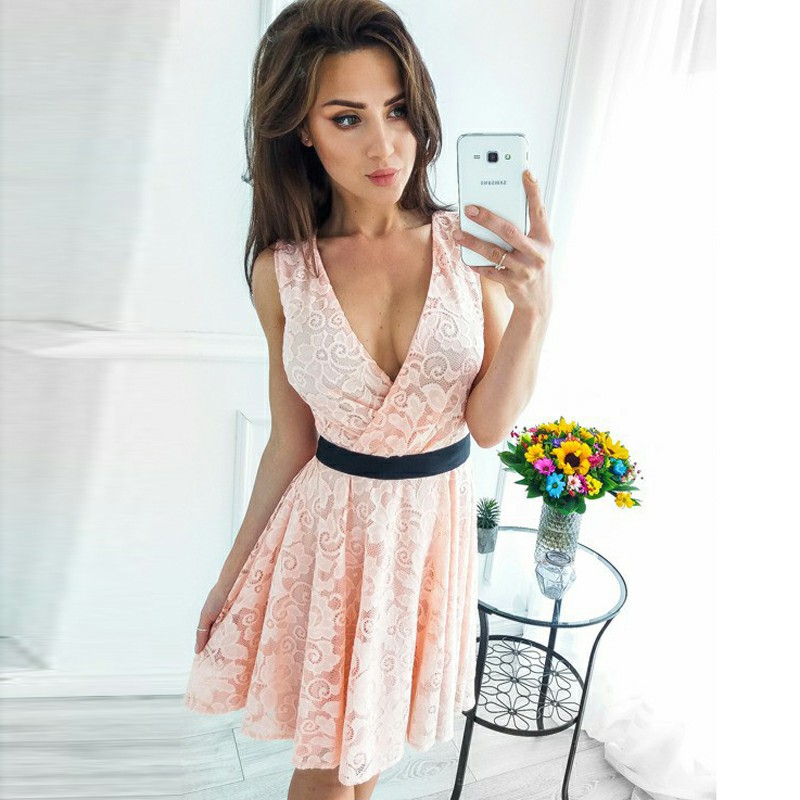 A-Line V-Neck Short Pearl Pink Lace with Sash Homecoming Dress