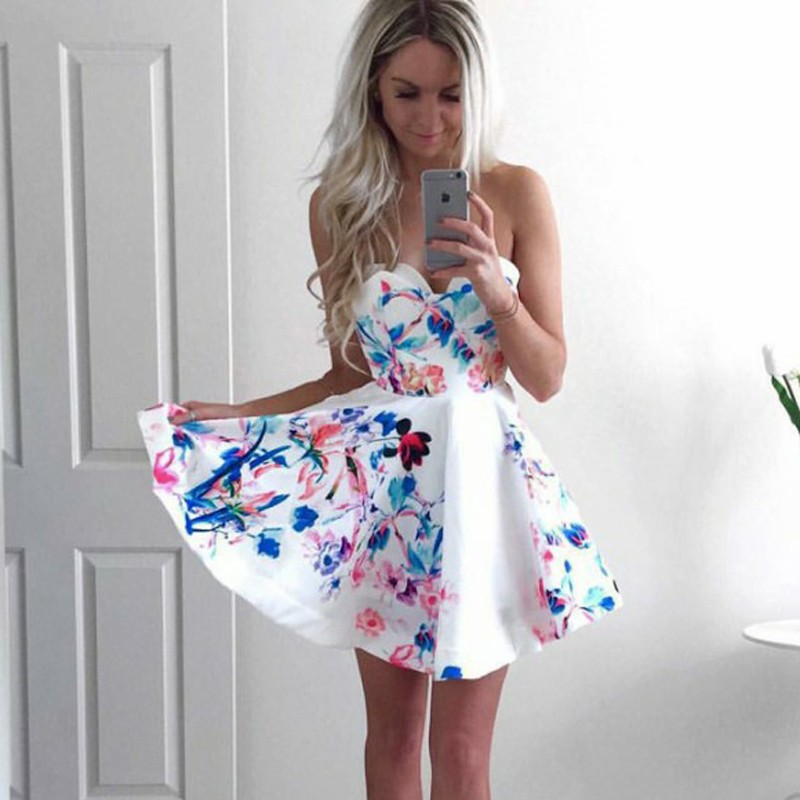 A-Line Sweetheart Short White Floral Satin Homecoming Dress