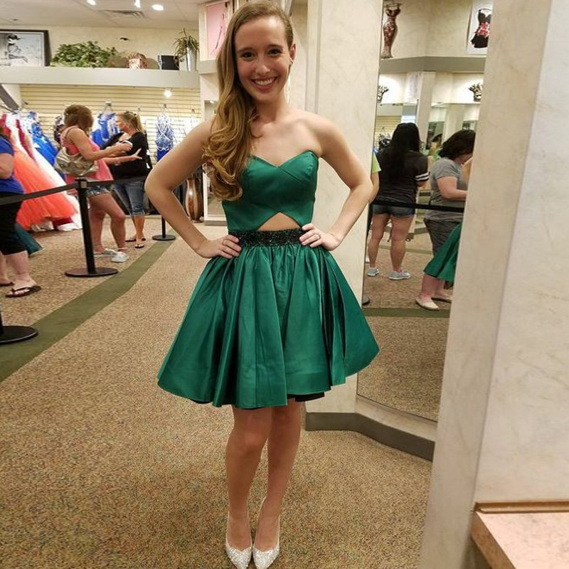 A-Line Sweetheart Short Dark Green Beaded Satin Homecoming Dress Cut Out