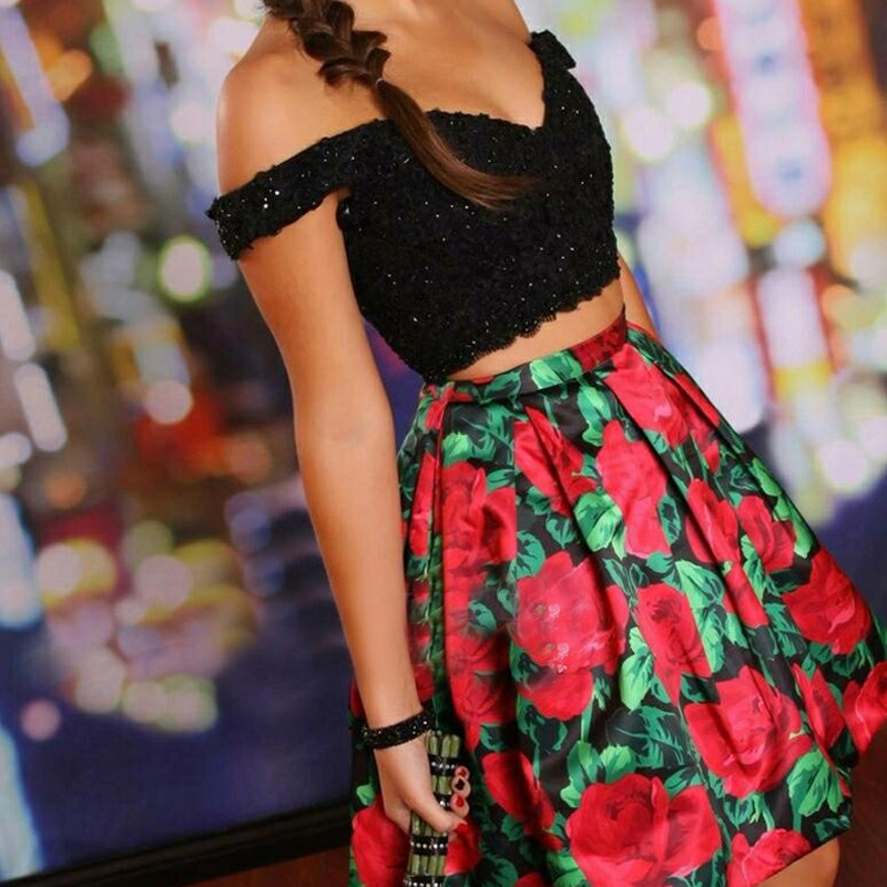 Two Piece Off Shoulder Short Black Floral Satin Homecoming Dress with Appliques