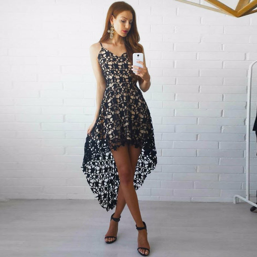 High Low Spaghetti Straps Black Lace Homecoming Party Dress