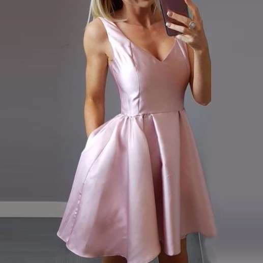 A-Line V-Neck Short Pink Satin Homecoming Dress with Pockets