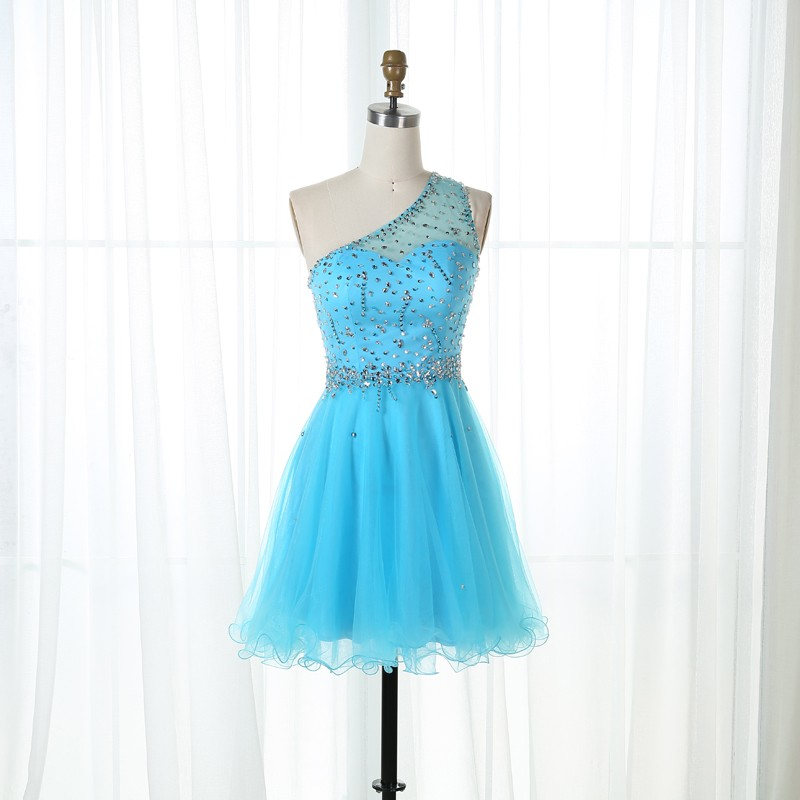 A-Line One Shoulder Short Blue Tulle Beaded Homecoming Dress