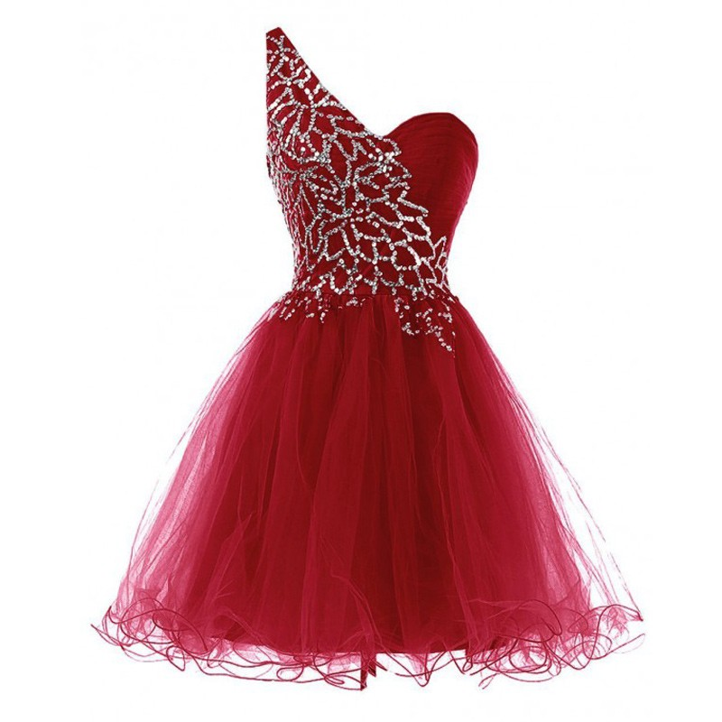 High Quality One Shoulder Dark Red Homecoming Dresses with Beaded