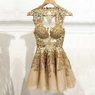 Sexy Sweetheart A-line Gold Appliques Homecoming Dresses CHHD-90108