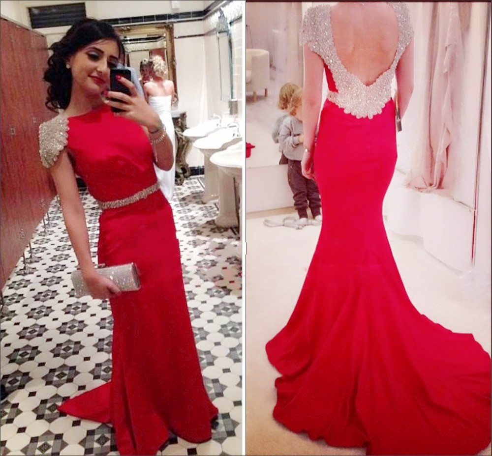 Elegant Mermaid Scoop Sweep Train Backless Red Prom Dress With Beading