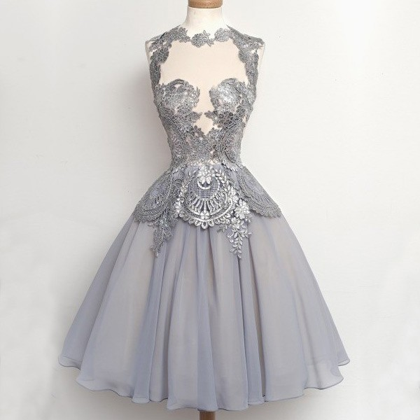 Elegant A-Line High Neck Short Chiffon Grey Homecoming/Prom Dress With Appliques