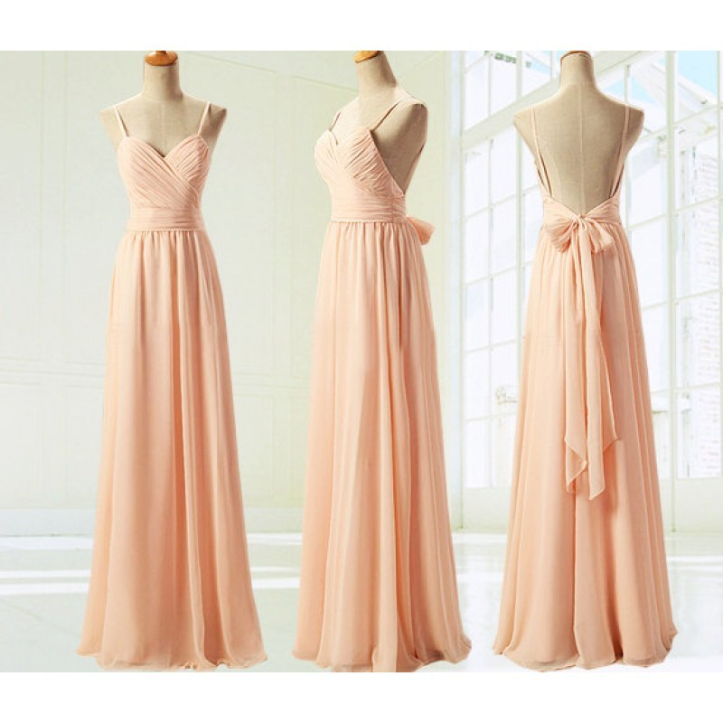 Luxurious A-Line Spaghetti Knee Length Chiffon Backless Pearl Pink Prom Dress With Ruched