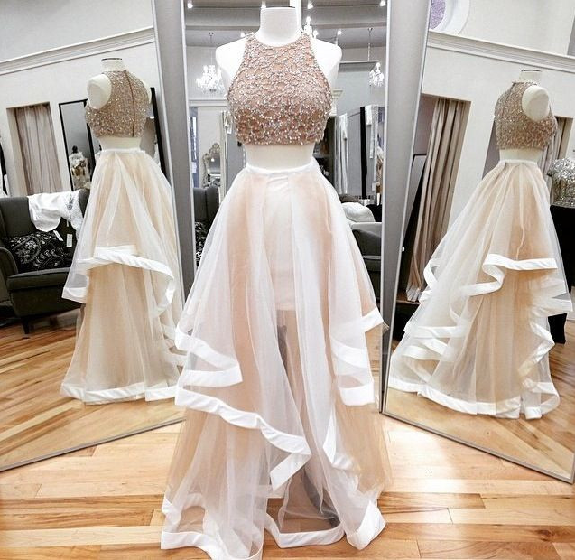 Two Piece Jewel LAsymmetrical Light Champagne Tulle Prom Dress with Beading