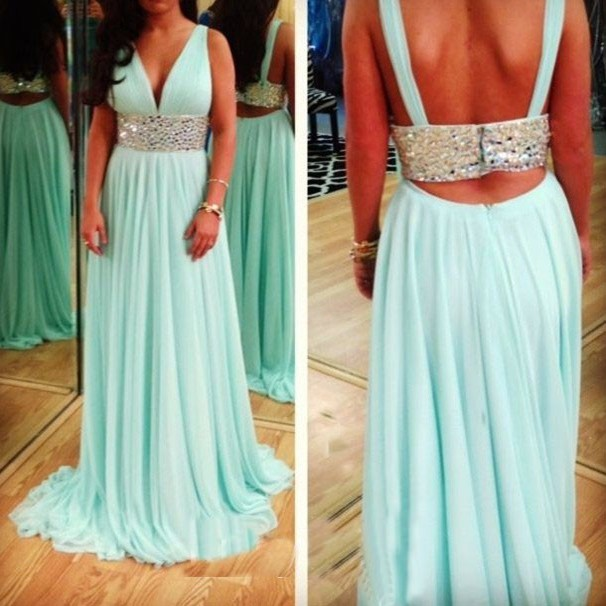 Elegant A-Line V-neck Sweep Train Empire Chiffon Mint Green Prom Dress With Sequins