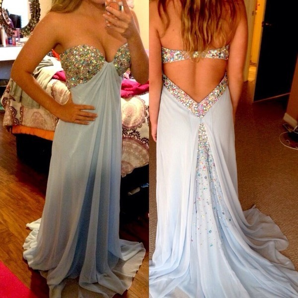 A-Line Sweetheart Backless Sweep Train Blue Chiffon Prom Dress With Beading