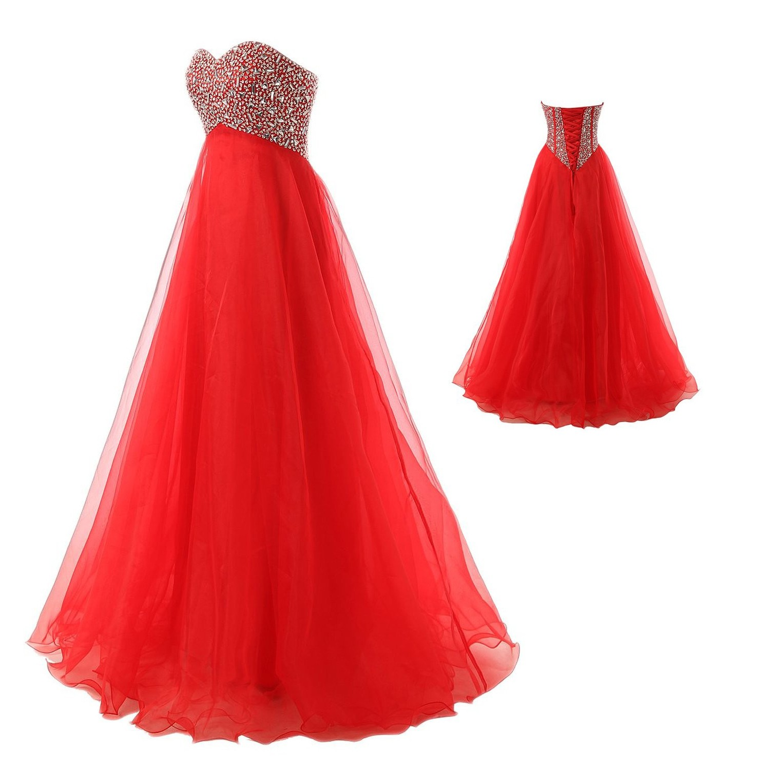 Elegant A-Line Sweetheart Knee Length Red Organze Evening/Prom Dress With Beading