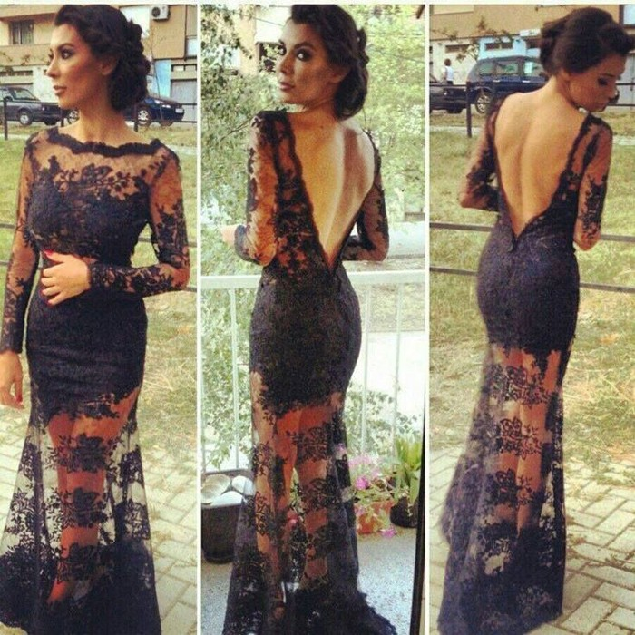 Amazing A-Line Jewel Floor Length Long Sleeves Lace Black Prom Dress